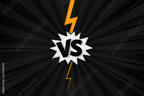 Versus VS letters fight backgrounds in flat comics style design with halftone, lightning Canvas-taulu