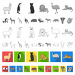 Different animals flat icons in set collection for design. Bird, predator and herbivore vector symbol stock web illustration.