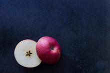 Slice Apple On Black Background,