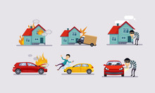 Insurance And Risk Insured Events Set, Road Accidents, Property Protection Vector Illustration