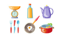 Kitchen Utensil Set, Scales, Bottle Of Oil, Coffee Pot, Fork, Knife, Spoon, Frying Pan, Vector Illustration On A White Background