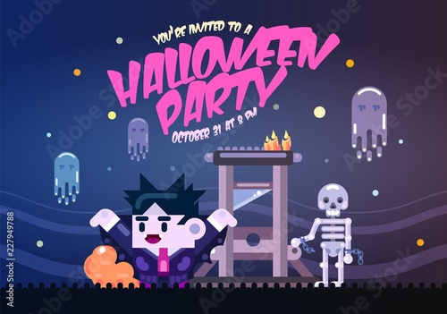 Halloween Poster With Guillotine Ghosts Skeleton And Dracula