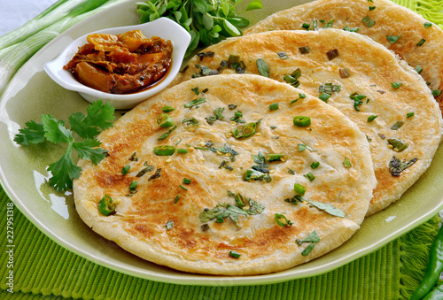 Vegetable Paratha and Pickle