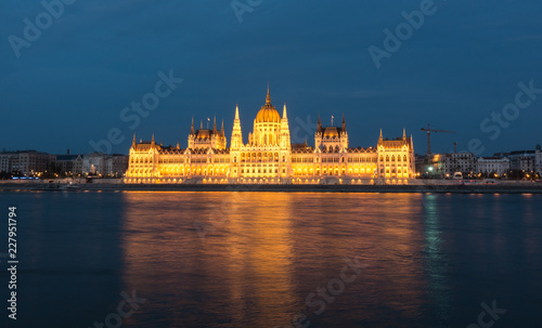Hungarian Parliament Building in the evening at the Danube river in Budapest, Hungary