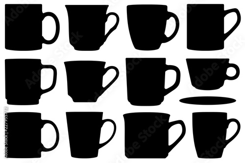 Obraz na płótnie Set of different cups and mugs isolated on white