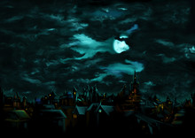 Mystical Night Over The Medieval Gothic Town/ Illustration A Fantasy Town Night Scape With Lights, Sky With The Moon And Clouds On The Background