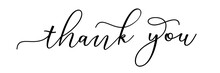 Thank You On White Background Hand Drawn Vintage Text