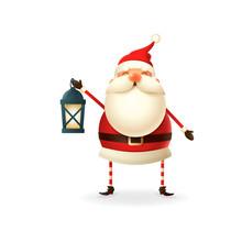 Cute Happy Santa Claus With Lantern Vector Illustration
