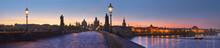 Panoramic Image Of Charles Bridge And Vltava River At Dawn