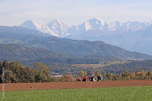 Foto op Plexiglas Heuvel Aussicht von Längenberg, Berner Alpen, Schweiz
