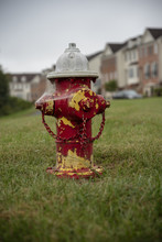 Fire Hydrant In Grass With Houses In Background
