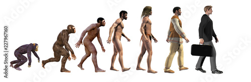 human evolution, from ape to modern business man, 3d illustration Canvas Print