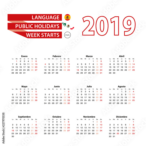 Mexico Calendar 2019 Calendar 2019 in Spanish language with public holidays the country