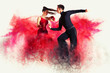 canvas print picture - Dancing ballroom. Color dust effect