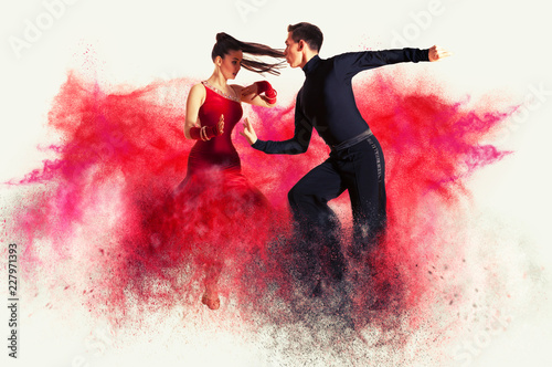 Tuinposter Dance School Dancing ballroom. Color dust effect