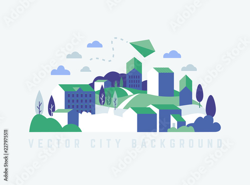 Poster Blanc Eco City landscape with buildings, hills and trees. Landscape with kite. Vector ecology illustration in minimal geometric flat style.