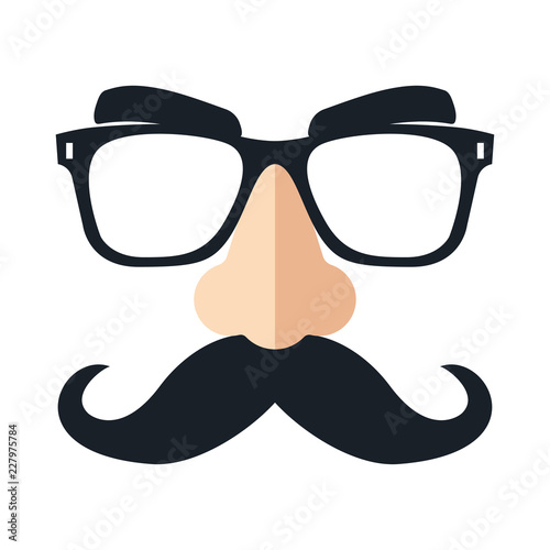 Fotografiet Disguise mask. Funny glasses. Vector