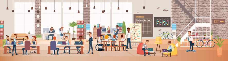 People Work in Office. Coworking Workspace. Vector
