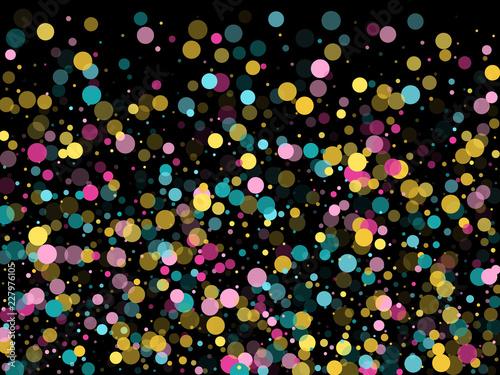 Obraz Memphis round confetti festive background in cyan blue, pink and yellow. Childish pattern vector. - fototapety do salonu