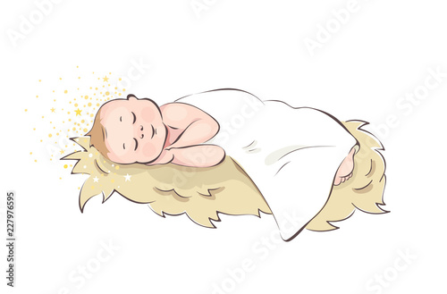 Obraz na plátně Baby Jesus / Baby sleeping in the manger, vector illustration