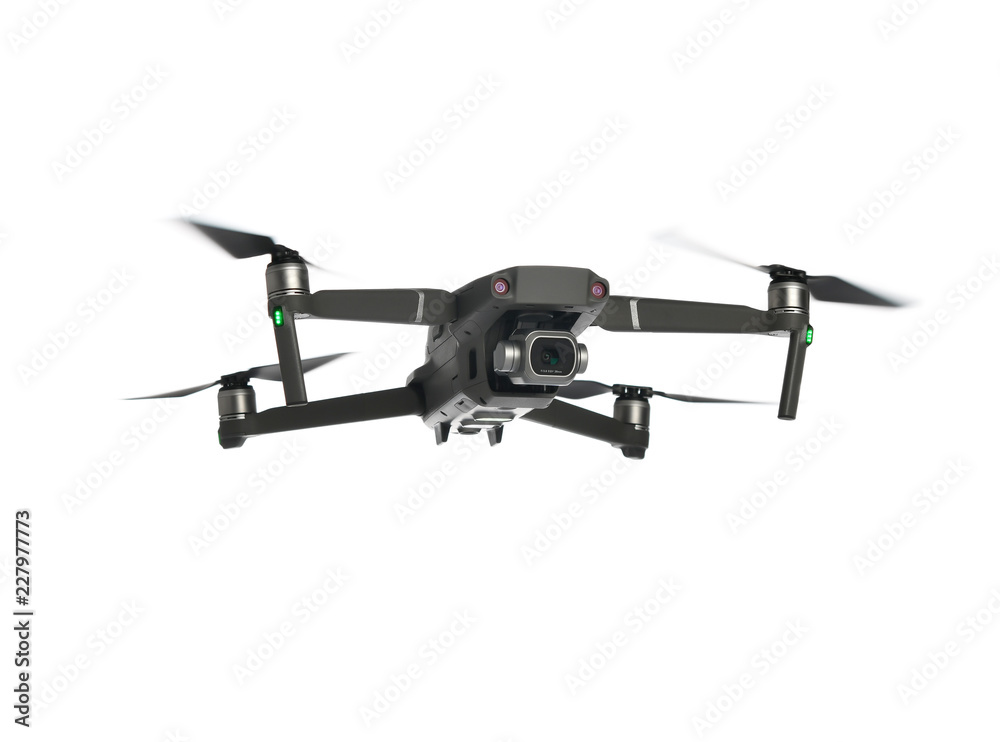 Fototapety, obrazy: New dark grey drone quadcopter with digital camera and sensors flying isolated on white