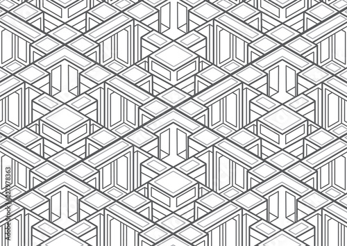 Technical Isometric Drawing Wallpaper Mural