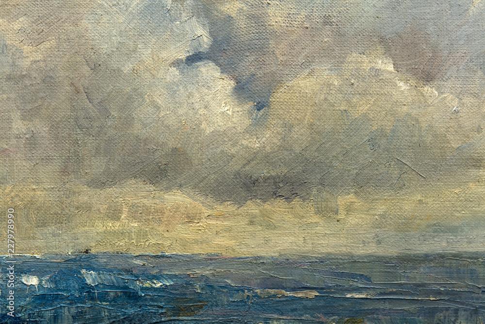 Fototapeta landscape, oil painting, hand made