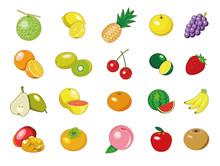 食材アイコン・イラスト【果物】①(メロン、みかん、いちご、すいか)