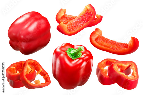Carta da parati Red bell pepper whole and slices c. annuum, paths