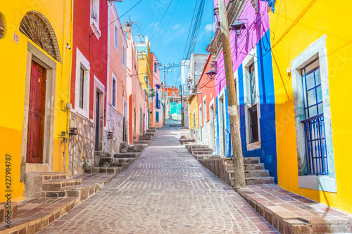 Garden Poster Narrow alley Colorful alleys and streets in Guanajuato city, Mexico