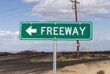 Weathered Mojave Desert Freeway Arrow Sign Between Barstow And Baker In Southern California.