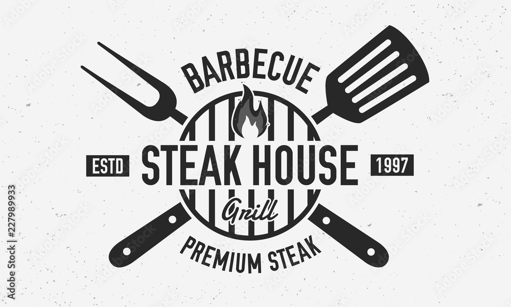 Fototapety, obrazy: Steak House, barbecue restaurant logo, poster. BBQ trendy logo with barbecue grill , spatula and grill fork. Vector emblem template.