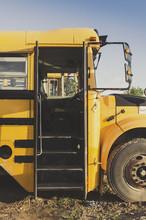 Old Schoolbus With Open Door