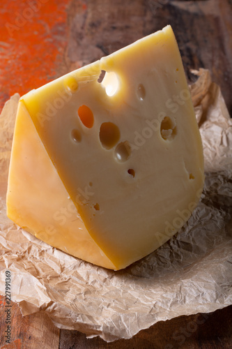 Swiss-style Dutch cheese,made from cow's milk, Maasdam or maasdammer cheese