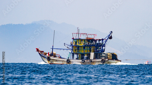 Malaysian fishing vessel on the way to the fishing ground Wallpaper Mural