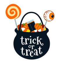 Halloween Trick Or Treat Black Cauldron Bucket Full Of Candy Vector Cartoon Illustration Isolated On White. Lollipops, Candy Corn, Candy Pumpkins. Fall Halloween Treats For Children Design Element.