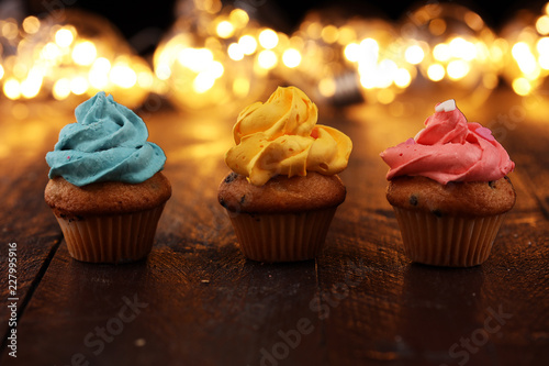 Tasty cupcakes on christmas winter background Canvas Print
