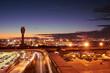 canvas print picture - Night time view of Phoenix, Arizona skyline, long exposure