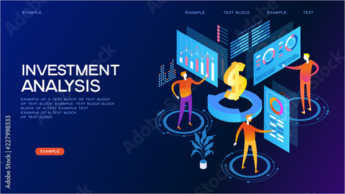 Fotografía  investment analysis isometric concept banner
