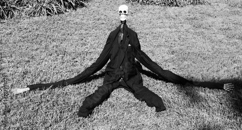 Photo Bizarre elongated Halloween creature on lawn.
