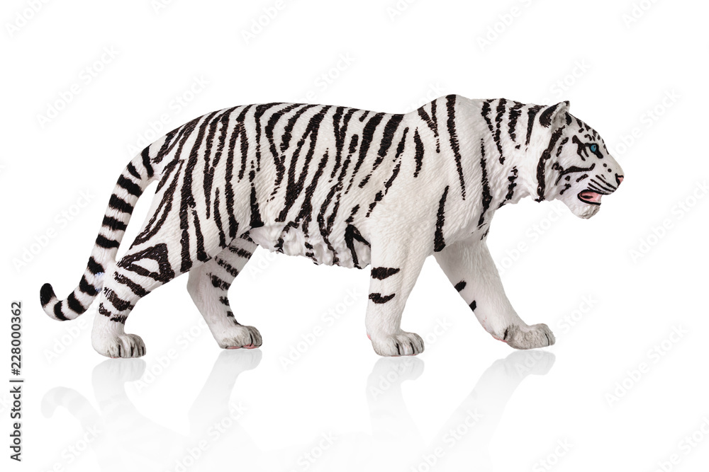 White bengal tiger toy. Isolated over white background