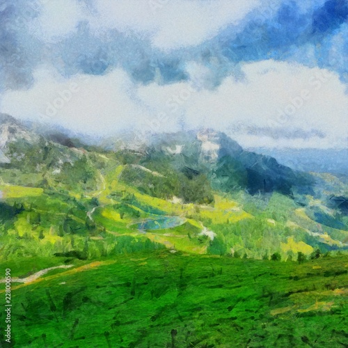 Foto op Plexiglas Groene Hand drawing watercolor art on canvas. Artistic big print. Original modern painting. Acrylic dry brush background. Beautiful mountain landscape. Wild nature. Paradise view. Blue bright sky clouds