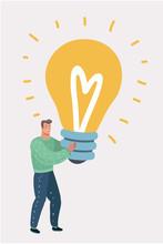Man Hugs A Big Light Bulb. Big Good Idea.