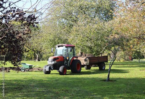 Zdjęcie XXL Ciągnik i taczka do pracy w ogrodzie. Transport ogrodowy. Taczka do pracy w ogrodzie. Pracować w ogrodzie. Sprzątanie ogrodu jesienią.