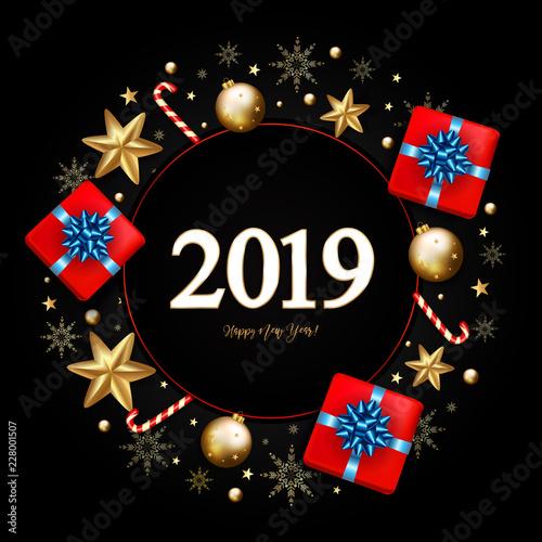 Fotografía  2019 New Year Decorative Border made of Festive Elements on black background