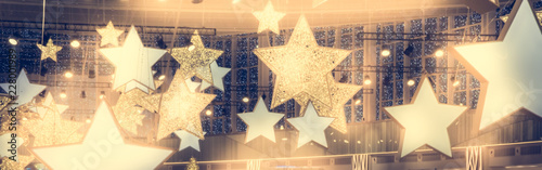 Fotomural Stars shape show celebrity background  with spotlights soffits   vintage yellow