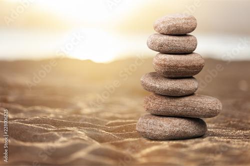 Zen basalt stones on background Canvas Print