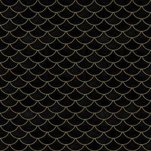 Mermaid Fish Scale Black Velvet Wave Japanese Seamless Pattern