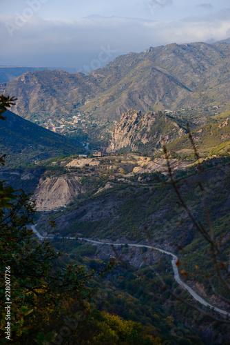 Foto op Aluminium Nachtblauw Amazing mountain landscape with Dzagidzor (Tumanian) from above, Armenia.
