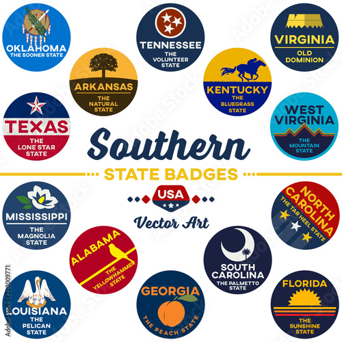 united states   southern state digital badges   vector art Canvas Print